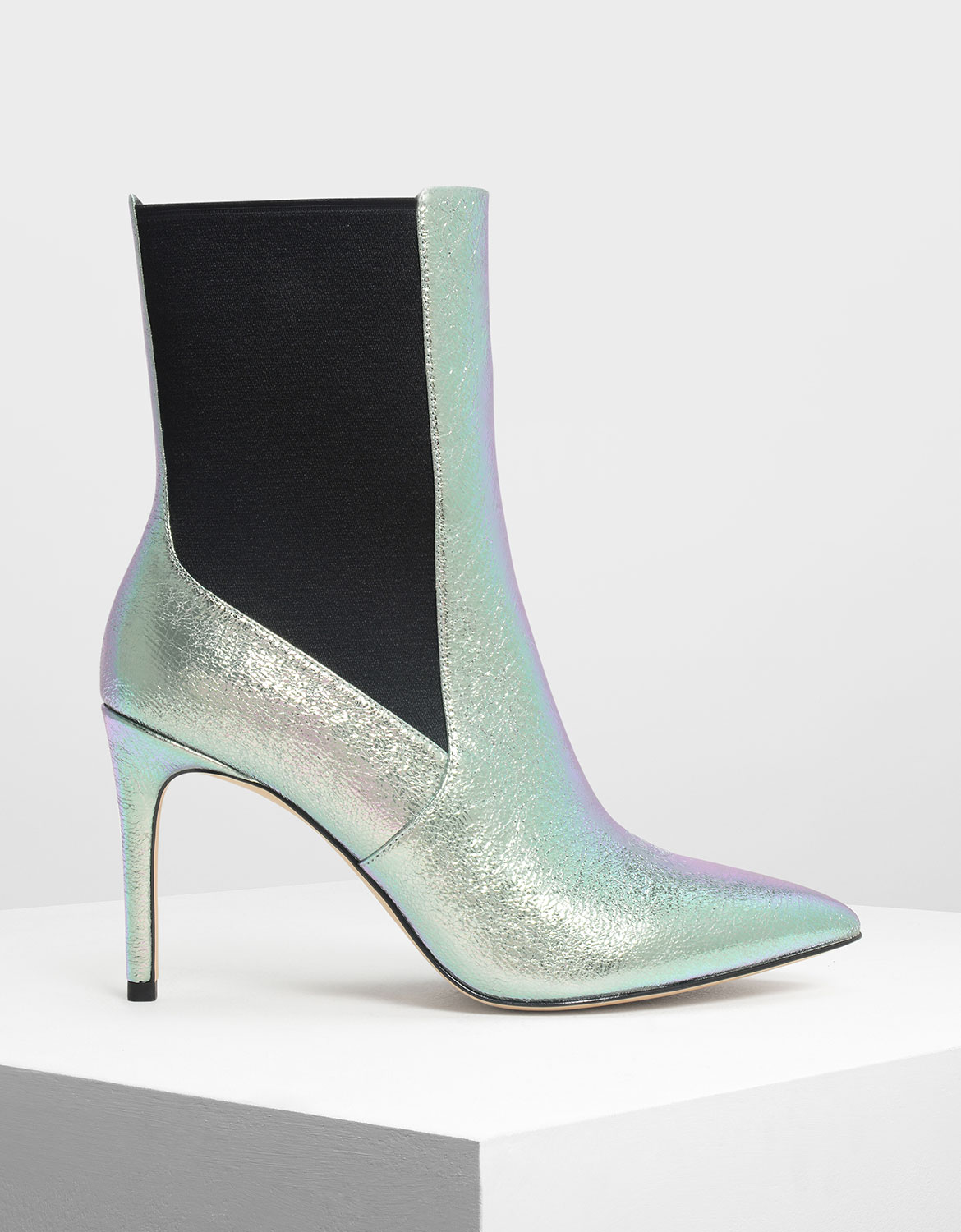 Charles & Keith Holographic Pointed Toe Chelsea Boots