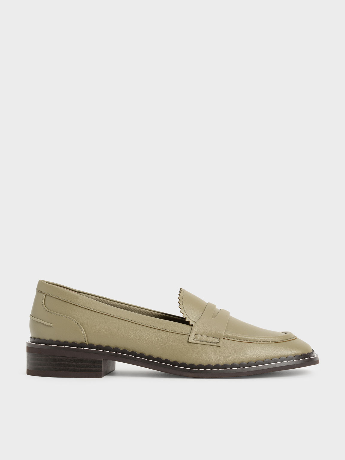 Scallop-Trim Penny Loafers