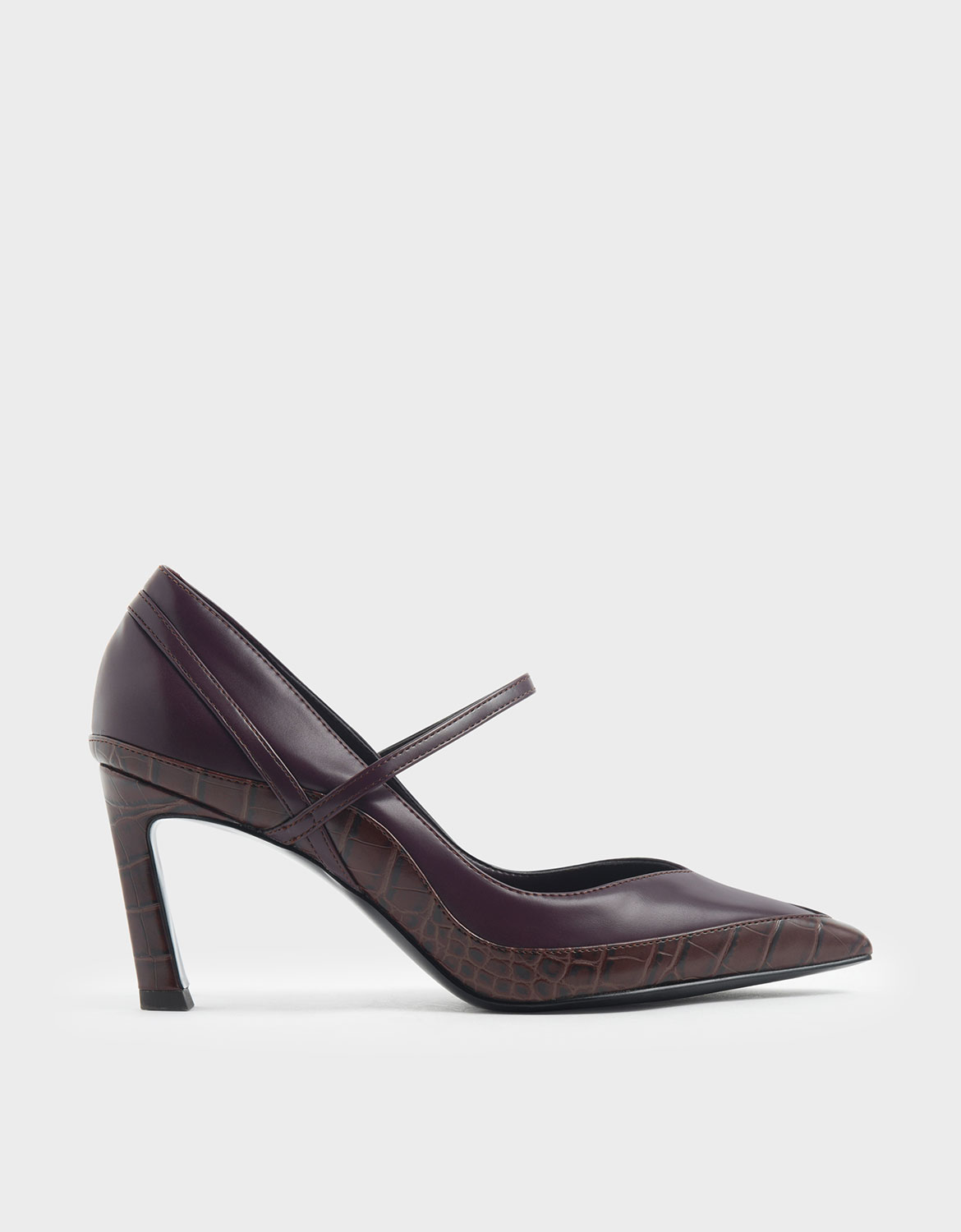 Charles & Keith Croc-Effect Pointed Toe Mary Jane Sculptural Heels